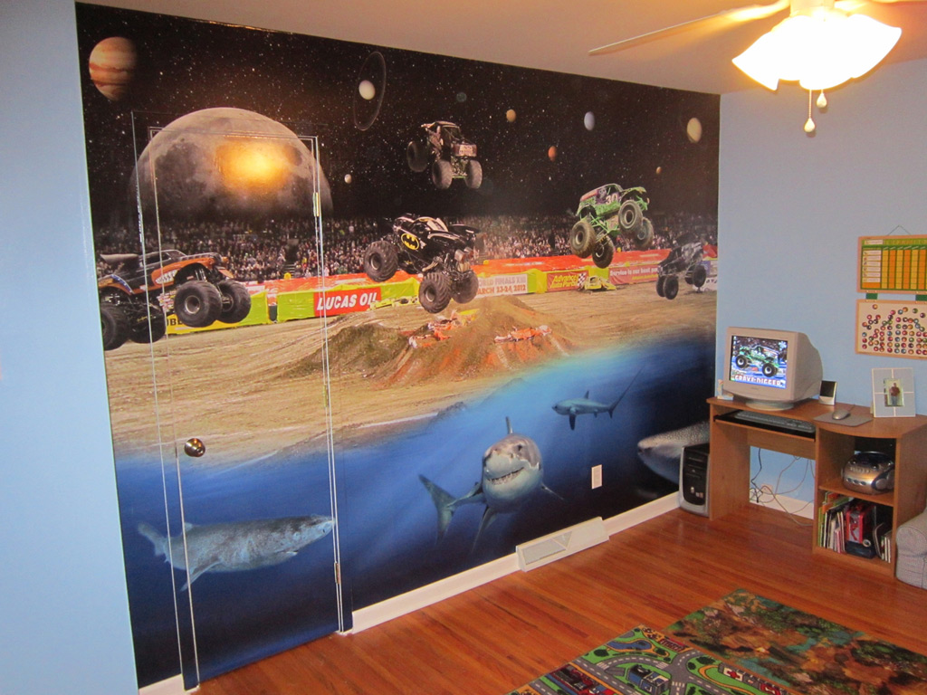 Amazing Childs Room Monster Truck Wall Mural Wrapthatcar Home Interior And Landscaping Ologienasavecom